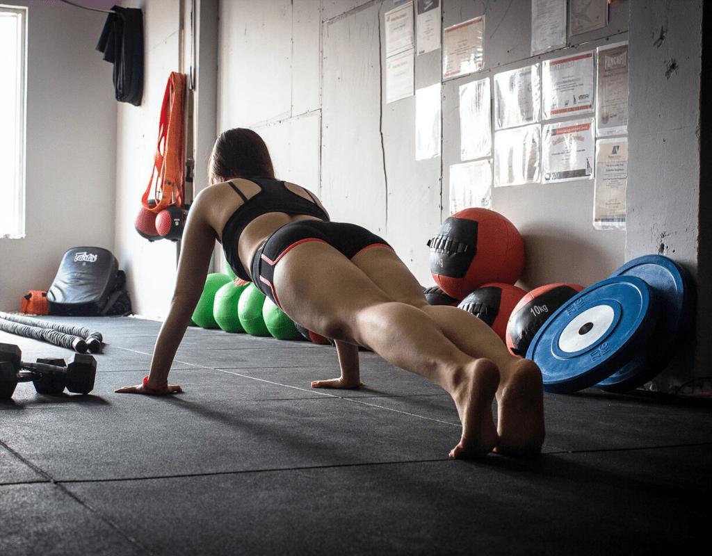 women performing plank