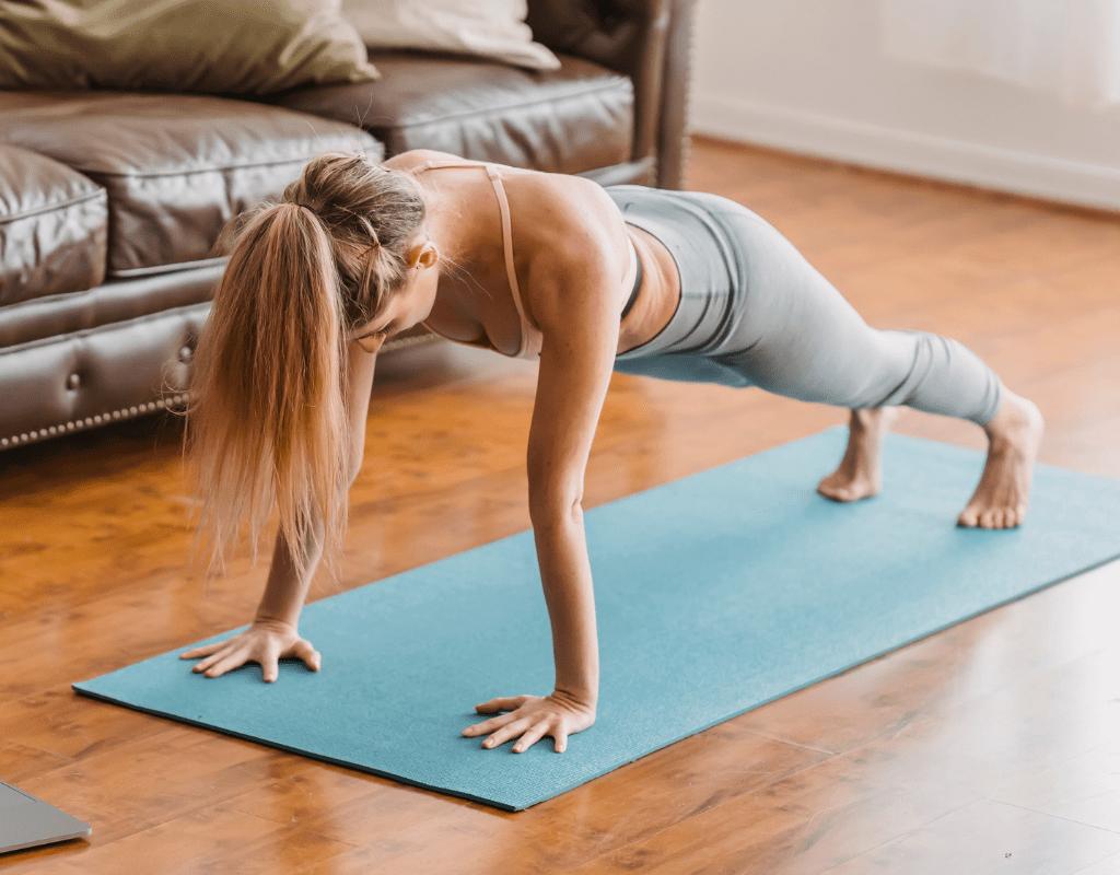 woman performing push-up